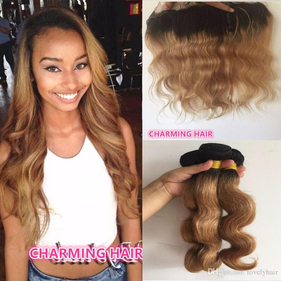 Brazilian Dark Root Honey Blonde Hair Weave 3 Bundles With Lace