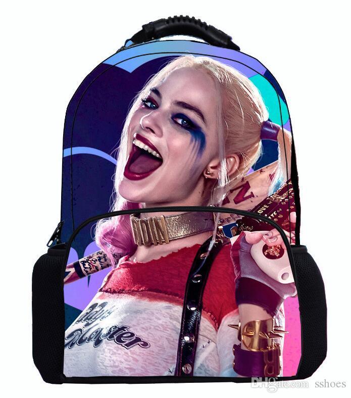 Высокое качество 17 дюймов чувствовал рюкзак самоубийство отряд Harley Quinn подросток дети школьная сумка сумки для ноутбуков сумки мальчиков девочек открытый путешествия рюкзак