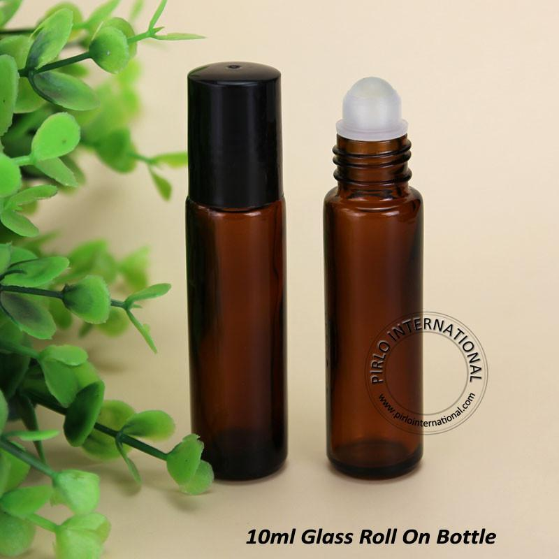 20pcs/Lot Promotion 10ml Amber Glass Roll On Bottle For Essential Oil Refillable Perfume Jar Portable deodorant Container