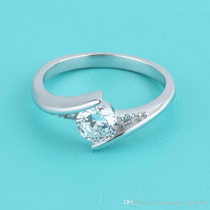 High Qulity Radiant Elegance 925 Sterling Silver White gold Plated Swiss Diamond Rings For women fashion jewelry Finger Ring dropship 080231