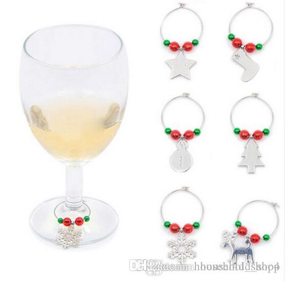 Christmas Wine Charms For Wine Glasses Drinking Cups Ring For Party Wedding New Year Table Decoration Alloy Wine Glass Charms