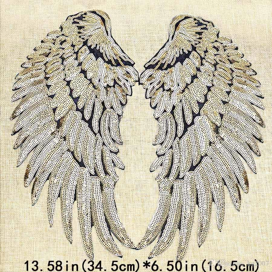 1 Paar Paillettenflügel Patches für Kleidung Eisen auf Transfer Applique Patch für Jacke Jeans DIY Nähen auf Stickerei Pailletten