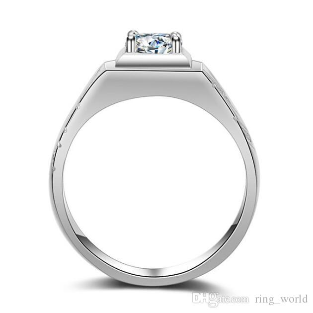 2017 New Men's Women's Silver Round Simulated Diamond with CZ Side Stone Ring Size 7 - 12