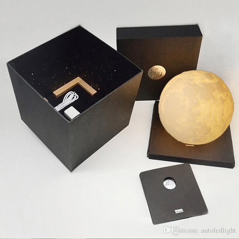 light 3D Printing Moon Shaped Lamp Touch Switch Control Brightness Warm/Cold Color Portable Craft 3.9inch Diameter