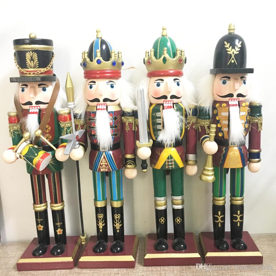 Christmas Wooden Home Decoration Hand Painted Walnut Soldiers Kings ...