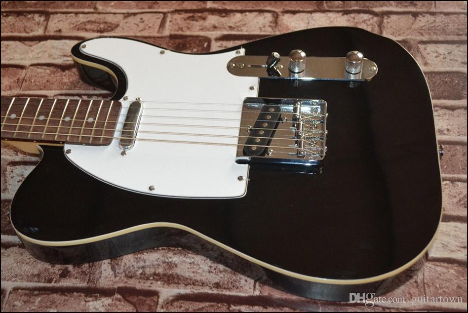 Um pescoço (sem lenço)! corpo sólido Guitarras Telecaster Black color OEM Guitarra Elétrica em estoque