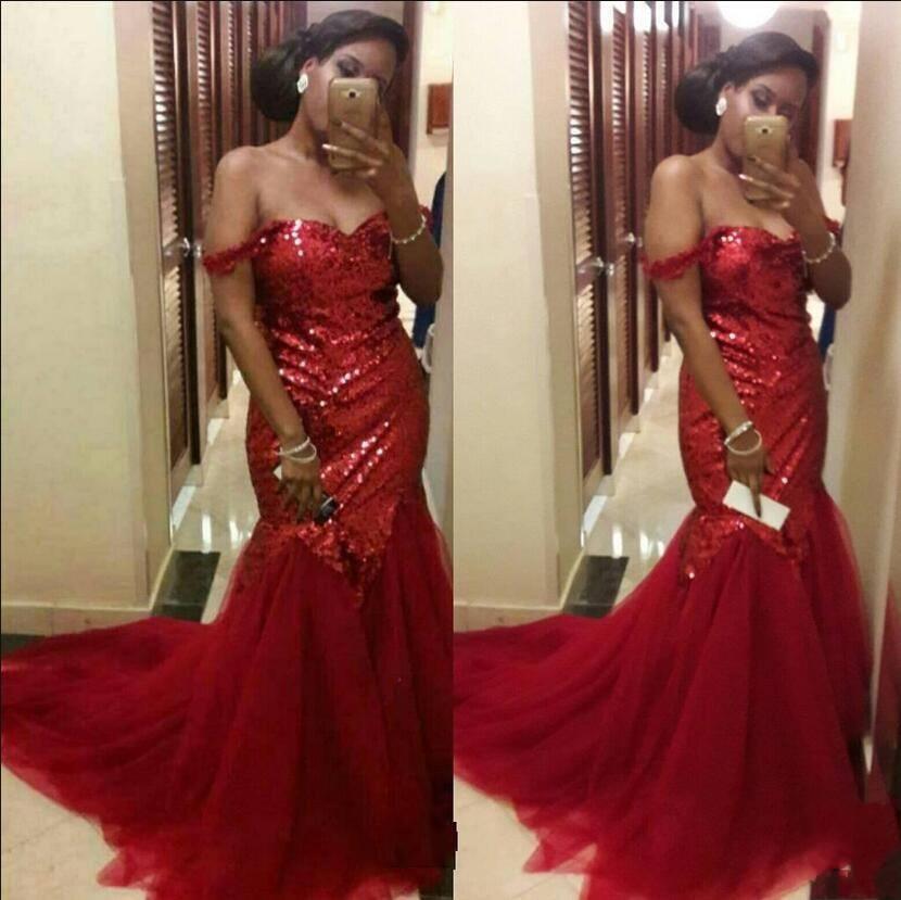 Mermaid Red Prom Dresses Wunderschöne Pailletten Formal Ladies Online Abend UK Cocktail Party Kleider Arabisch Off Shoulder Abendkleider