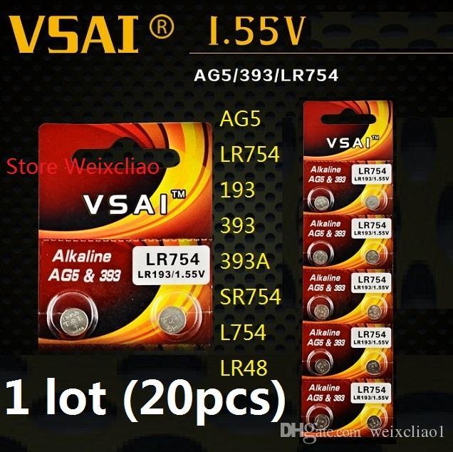 20 قطع 1 وحدة AG5 LR754 193 393 393A SR754 L754 LR48 1.55 فولت البطارية القلوية زر خلية بطاريات عملة vsai مجانية
