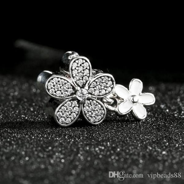 2017 Spring Dazzling Daisy Duo Charms Beads 925 Sterling-Silver-Jewelry Pave CZ Flower Bead DIY Bracelets Accessories
