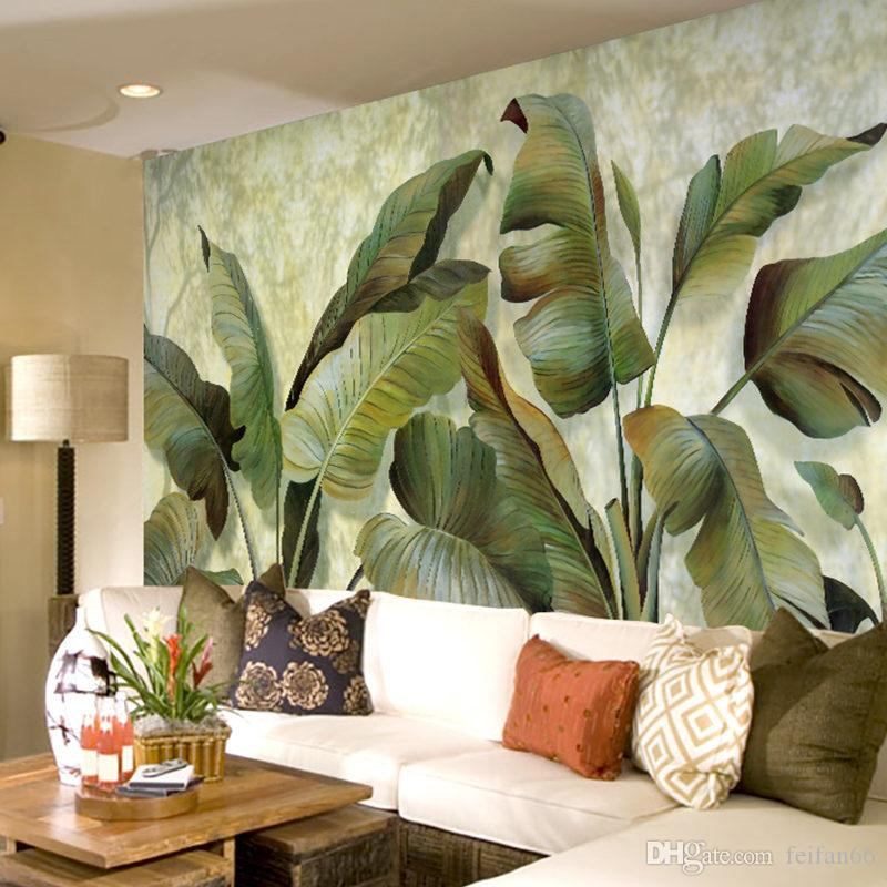 Custom Mural Wallpaper Southeast Asian Tropical Green Banana Leaf ...