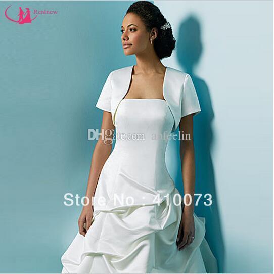Newest Wholesale/Retail Price Vintage Design Short Sleeve Ivory Satin Formal Cheap Bridal Bolero Wedding Good Quality