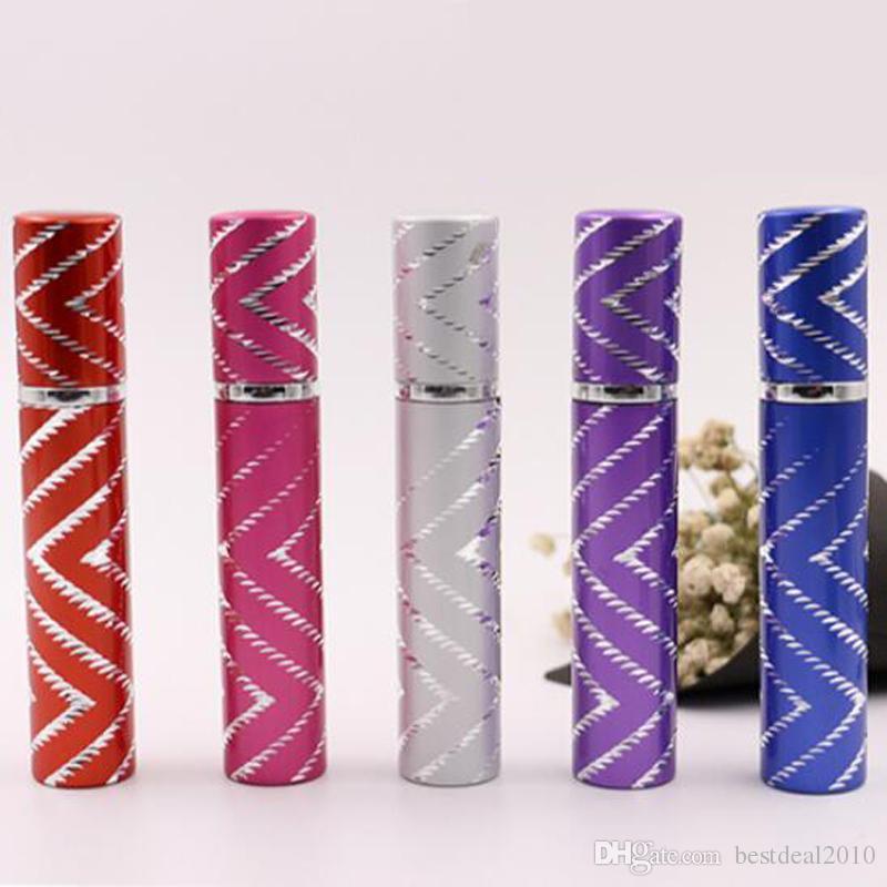 8ML Line glass Bottle 8 ml Portable Travel aluminum Perfume Bottle, Perfume Sprayer, Can Add Perfume Empty Bottle