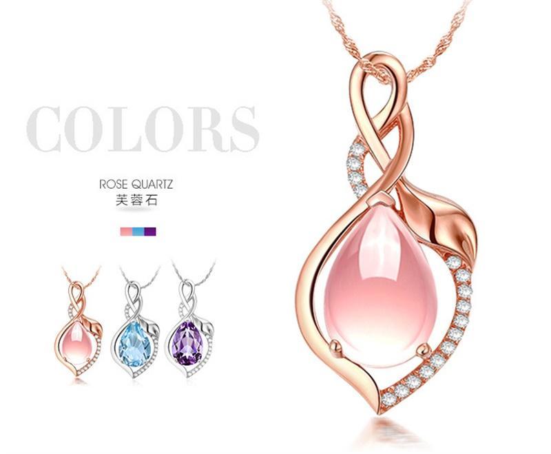 YHAMNI Original Luxury Natural Rose Gold Pendant Pink/Blue/purple Gem Crystal Pendant Water Drop Necklace for Women FD313
