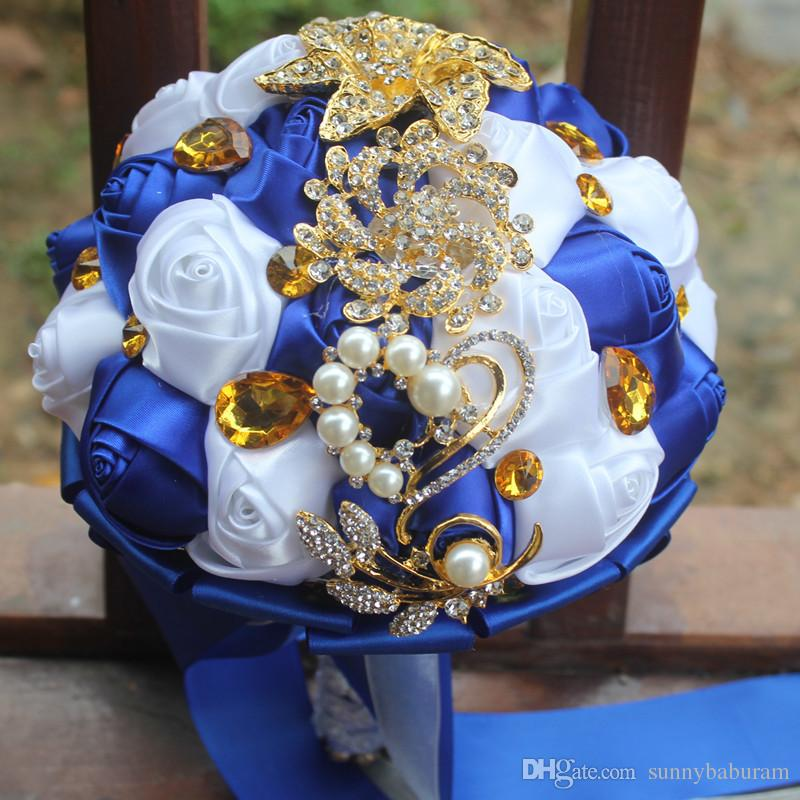White And Gold Wedding Flowers: White Royal Wedding Bridal Bouquets Simulation Flower