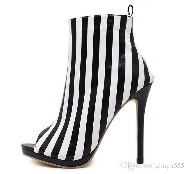 Sonbahar yeni Gladyatör Roma Sandalet Bayan Seksi Yüksek Topuklu Burnu açık Ince Topuk PU şerit Kısa Çizmeler Stilettos Gece Kulübü Ayakkabı Güz Kış