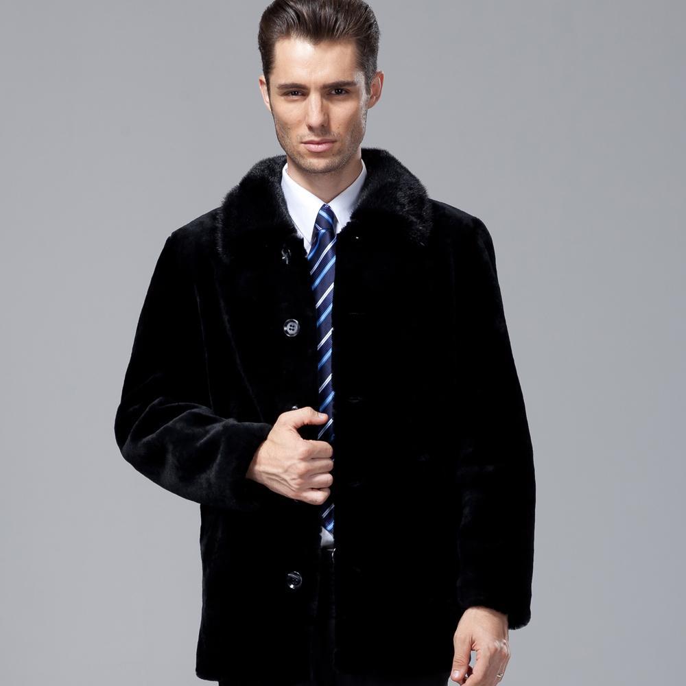 Мужские естественное натурального мех пальто Большого размера двубортные овчин меховая модель куртки меховые пальто Мужской куртка зима
