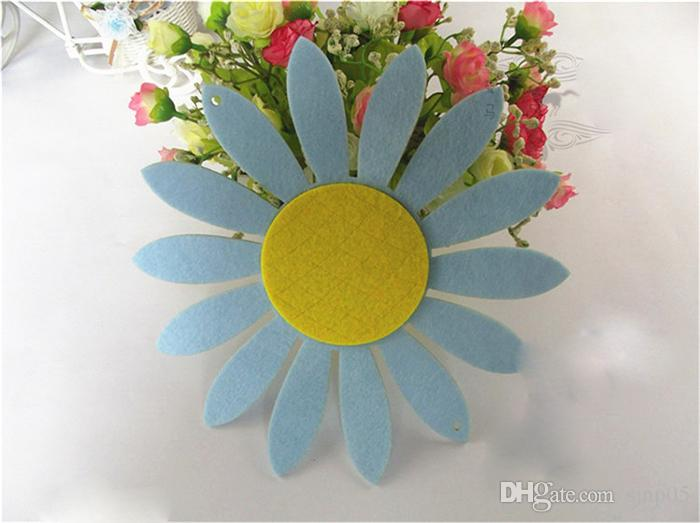 Wholesale Colorful Decorative Flowers Wool Felt Sunflower Appliques Wall Hanging Banner 15CM DIY Felt Craft Flower Kindergarten Room Decor