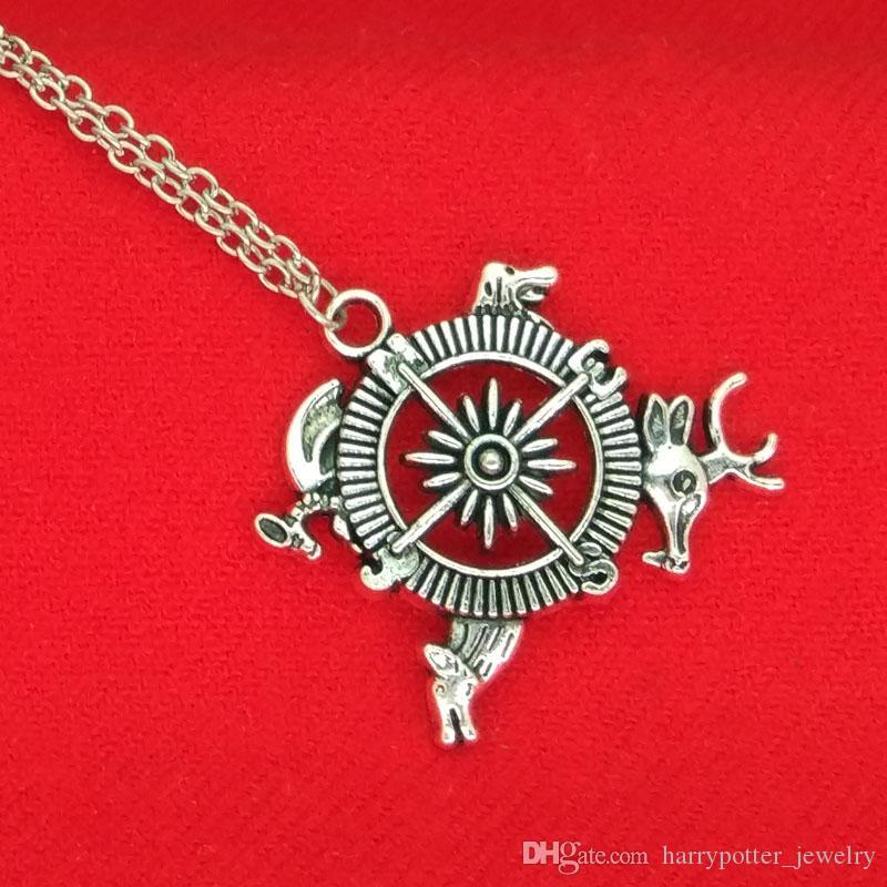Oyun thrones Pusula Kolye Antik gümüş Ilham Intro Tema Crest Pusula kolye Bir Buz Şarkısı ve Yangın bildirimi takı 160547