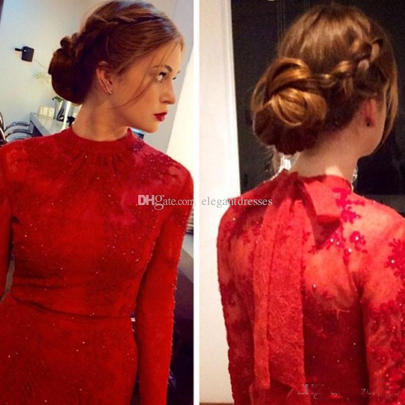 2021 Abendmode Charming Spitze Aufkleber Celebrity Roter Teppich Fischtail Kleid Noche Rote Spitze Langarm Abendkleide Elegante Frauen Formale