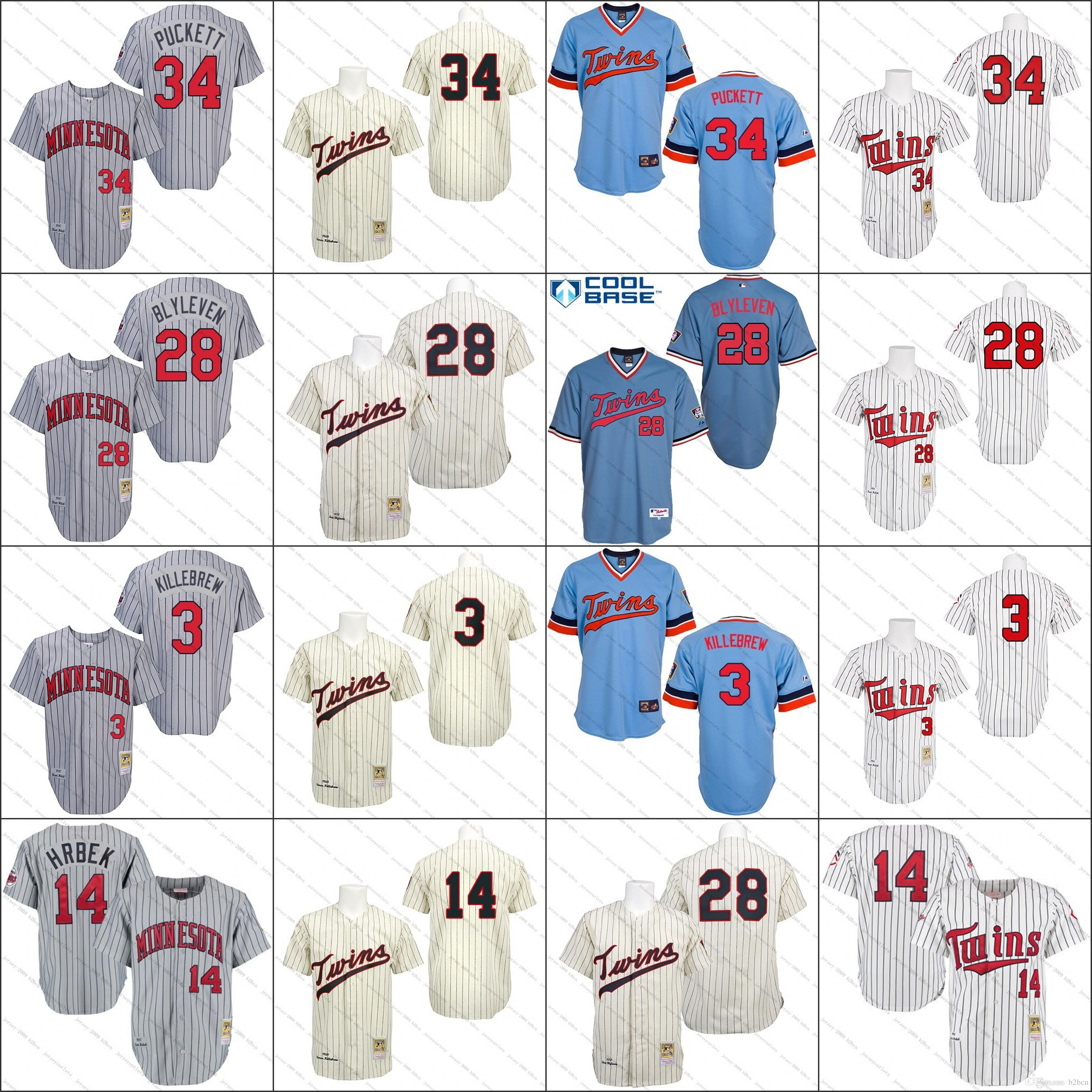 3ff8da4e508 ... MLB Jersey White 1991 Cream 1969 Grey 1987 Light Blue Throwback Kirby  Puckett Harmon Kille Bert Blyleven Kent Authentic Minnesota Twins No.34 ...