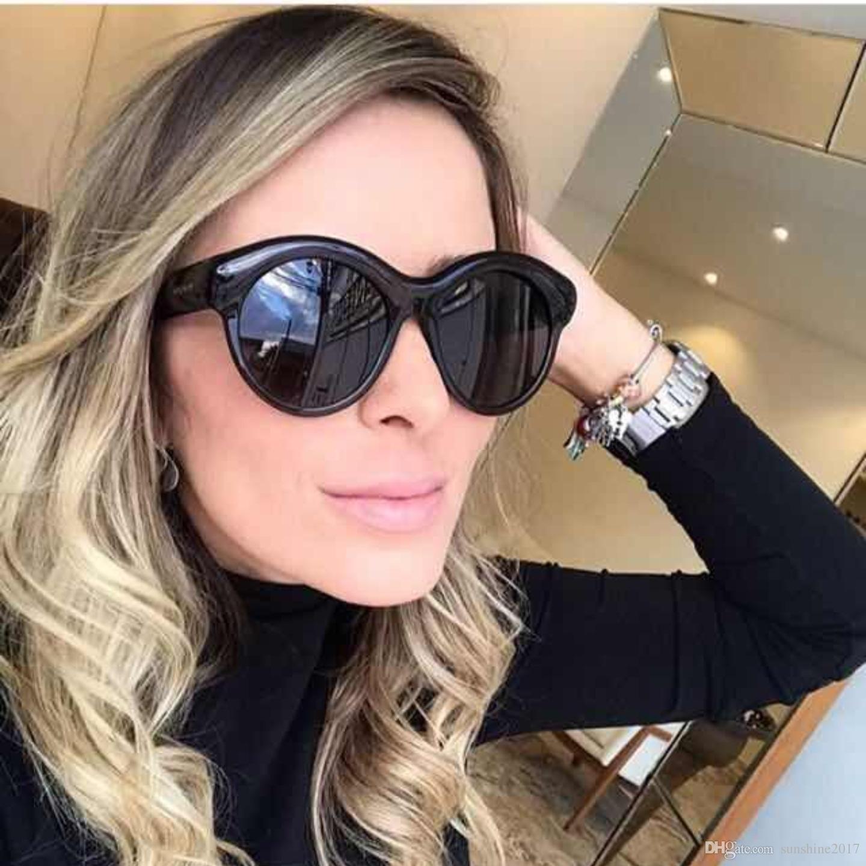 2a534b228f5cf0 Acheter Marque Concepteur Lunettes De Soleil Rondes Femme Mode Dames  Lunettes De Soleil Rétro Femme Vintage Noir Nuances Oculos De Sol Feminino  2018 Nouveau ...