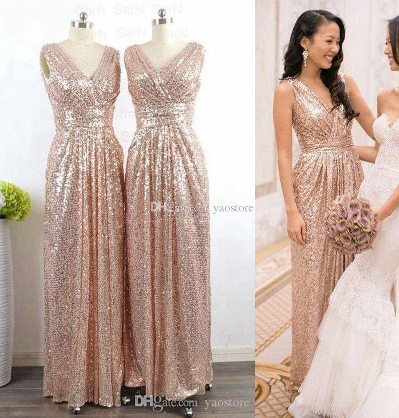 c1f225af800 Rose Gold Long Bridesmaid Dresses Bridal Party Guest Wear Floor Length  Sheath Column Maid Of Honor Dress 2017 Lace Bridesmaid Dresses Long Little  Bridesmaid ...