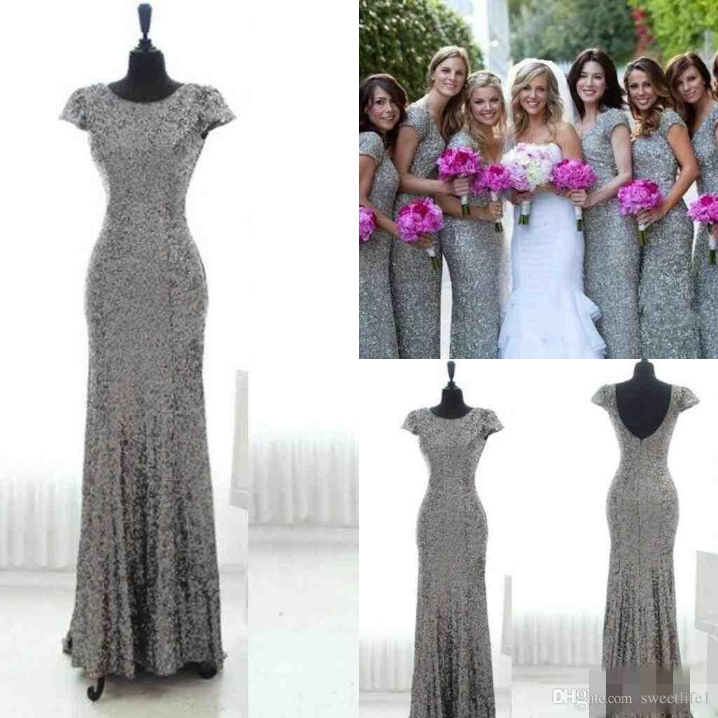 Bling Grey Sequins Mermaid Bridesmaid Dresses 2016 With