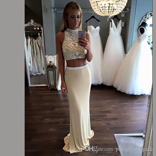 Dos piezas de sirena vestidos de baile 2017 vestidos de fiesta formales de gasa con cuentas con diamantes de imitación vestidos de fiesta Ropa de noche
