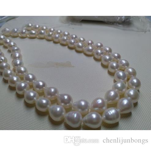 35 inch AAA 10-13mm genuine south sea white pearl necklace 14k
