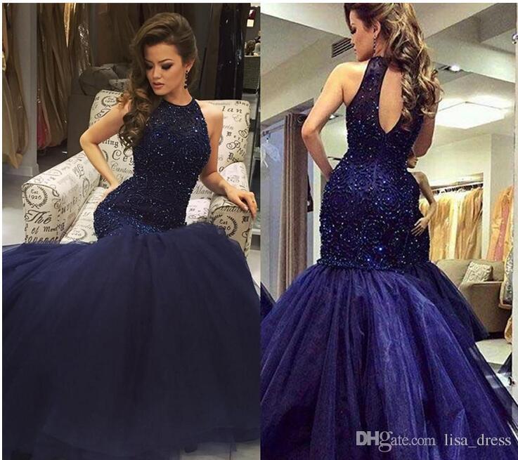 New Bling Bling Navy Blue Long Evening Dresses Custom Sleeveless