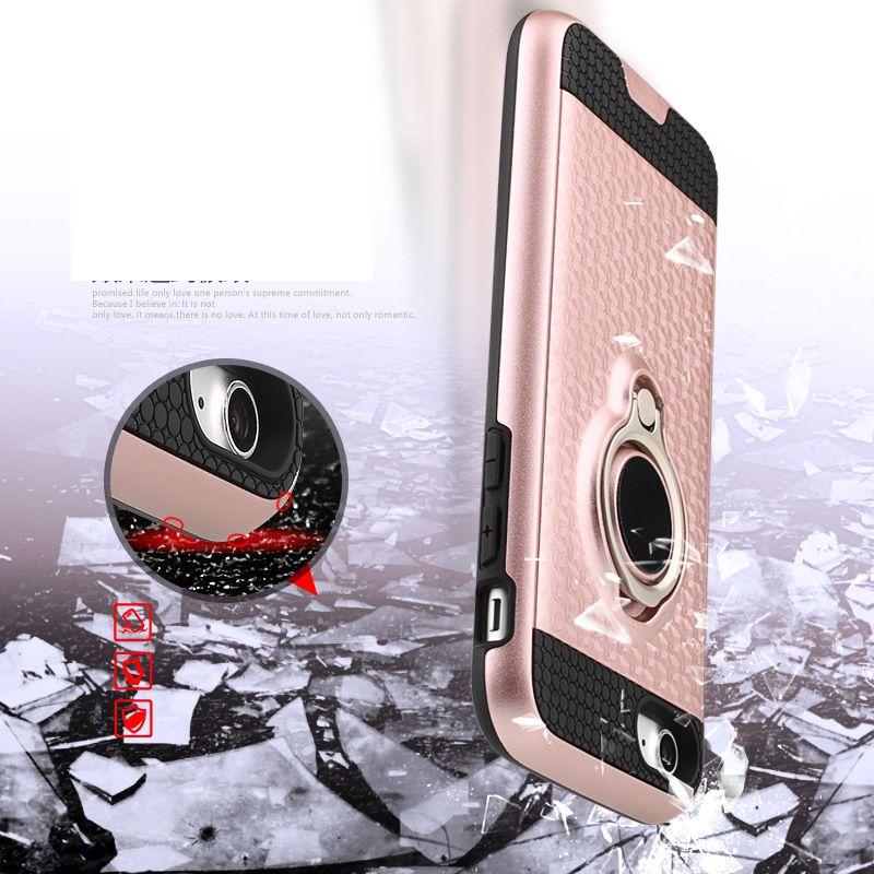 Чехол Hybrid Armor 3D Ударопрочный металлическое кольцо Держатель кронштейна Задняя крышка для iPhone X 8G 7 6 плюс Samsung Galaxy S8 Note 8 Магнитное автомобильное крепление