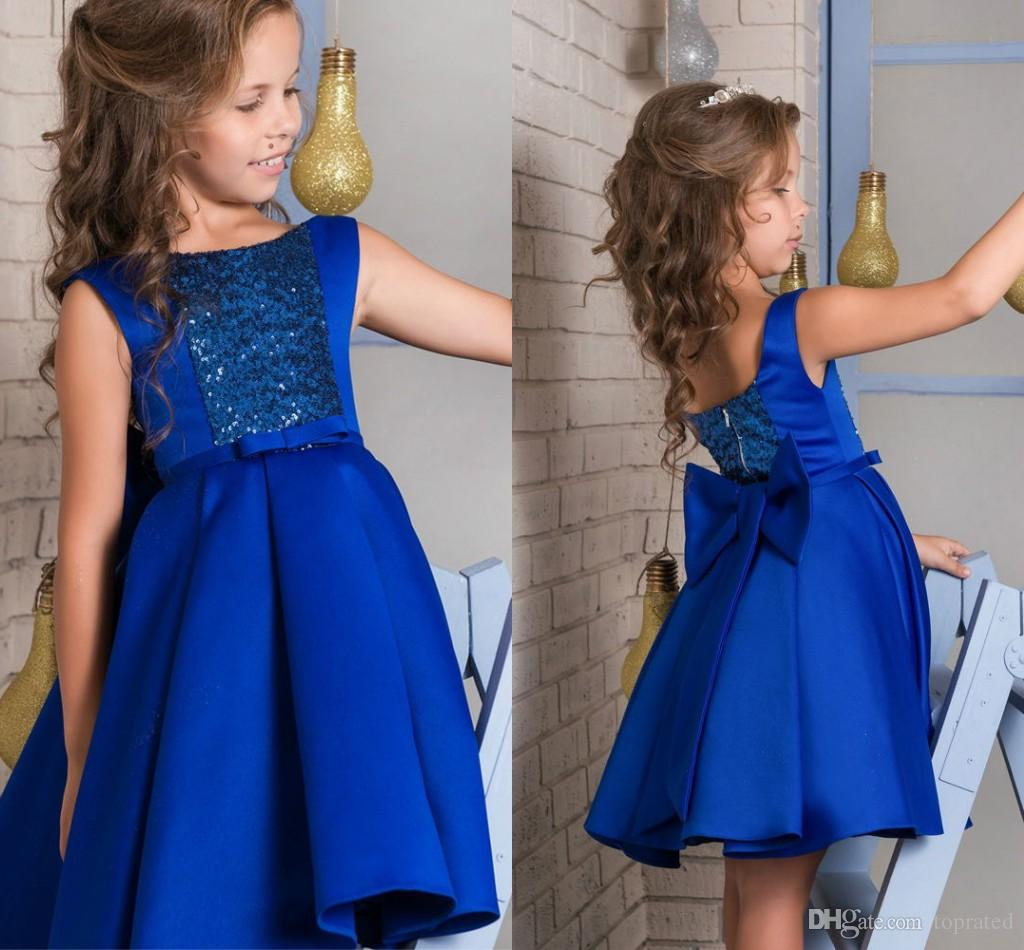 Royal Blue Knee Length Short Flower Girl Dresses For Wedding