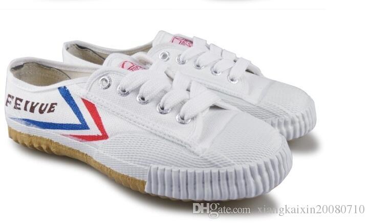 Feiyue Sapatos de tênis de lona ultra leve para homens e mulheres, para Kung fu, artes marciais e esporte casual | Navio de gota preto e branco clássico