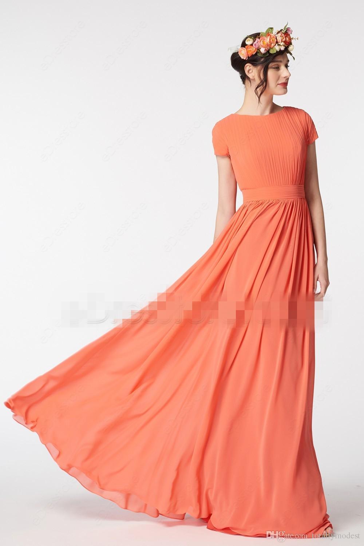 Long A-line Orange Modest Bridesmaid Dresses Cap Sleeves A-line Floor Length Pleated Chiffon Jewel Formal Bridesmaid Gown Custom Made
