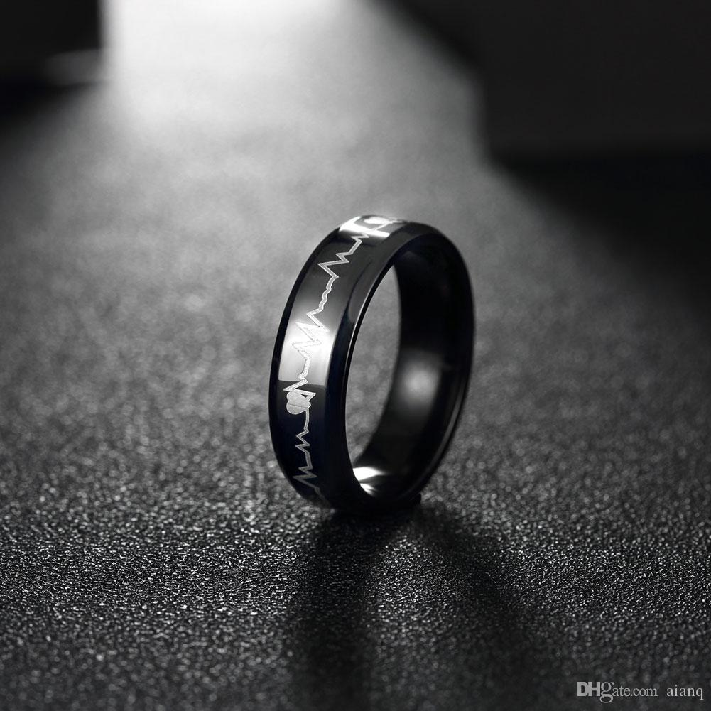 Fashion Black Simple Men Ring Perfect Polished Stainless Steel Men Rings Jewelry Men's Electrocardiogram Ring Party Wedding Jewelry Love Ri