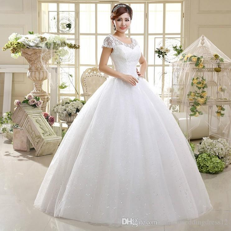 New Big Discount Ball Gown Beige/Red Short Sleeve Beads Organza Wedding Dresses 2017 New Lace Up Bridal Weding Gowns robe de mariage
