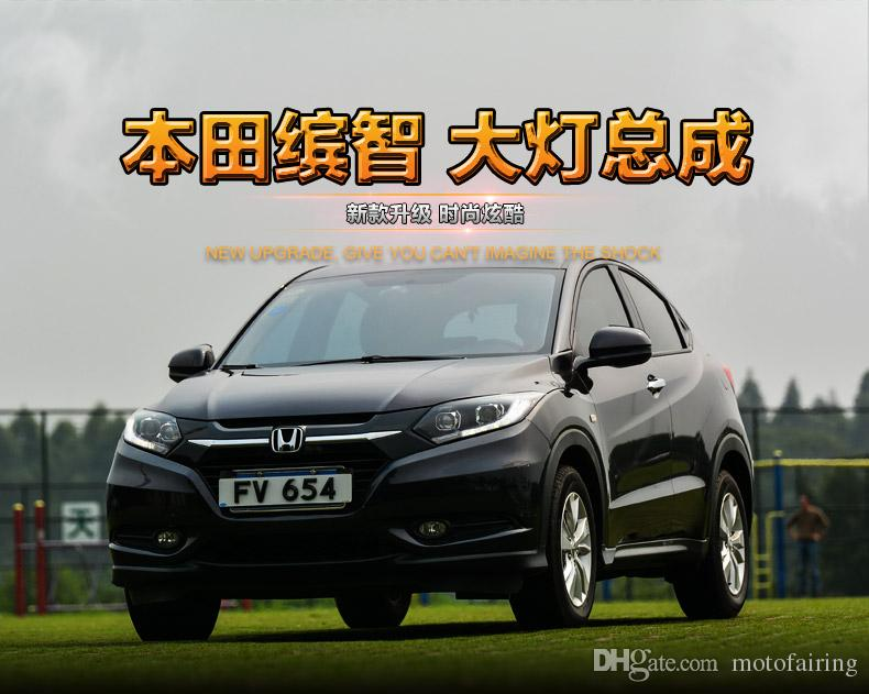 Dedicated to the for Honda VEZEL headlamp assembly 15-16 paragraph modified double light lens LED daytime running lights Xenon headlamps