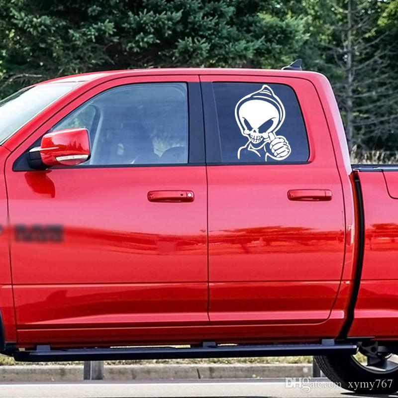 New Style Car Styling Thumbs Up Skull Car Stickers Personality Funny Scary Vinyl Removable Truck Decals Decor