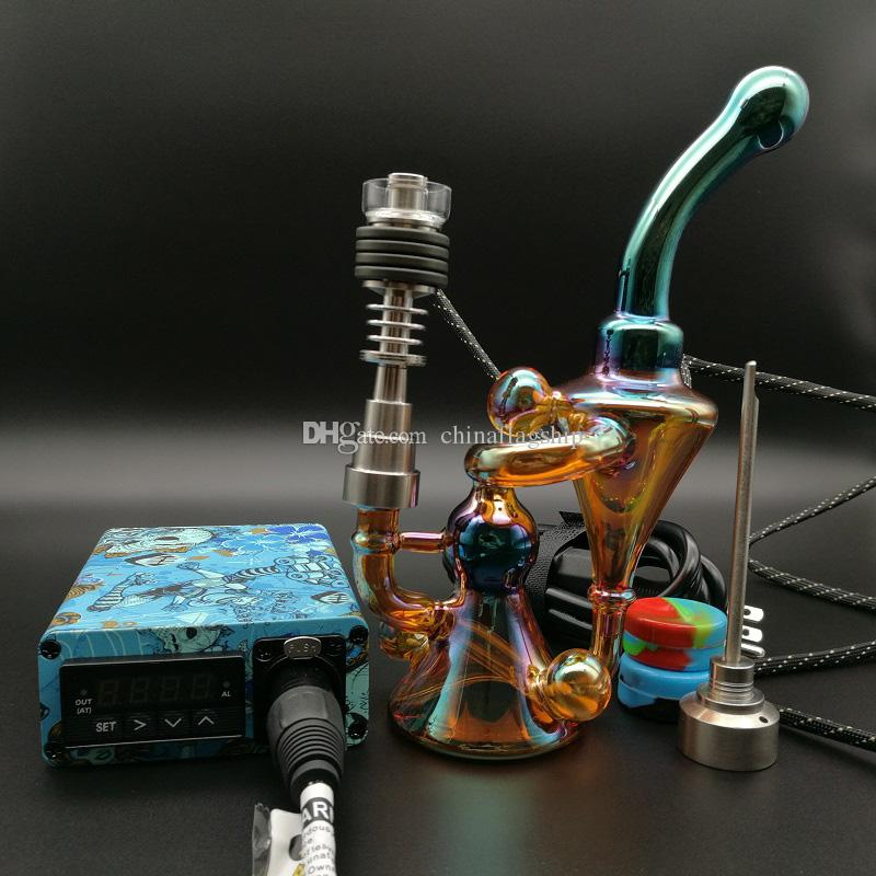 Electric E Dab Nail kit oil Rig glass water Bong Wax Vaporizer With Coil Heater Dabber Box For Dry Herbal Vape Kit