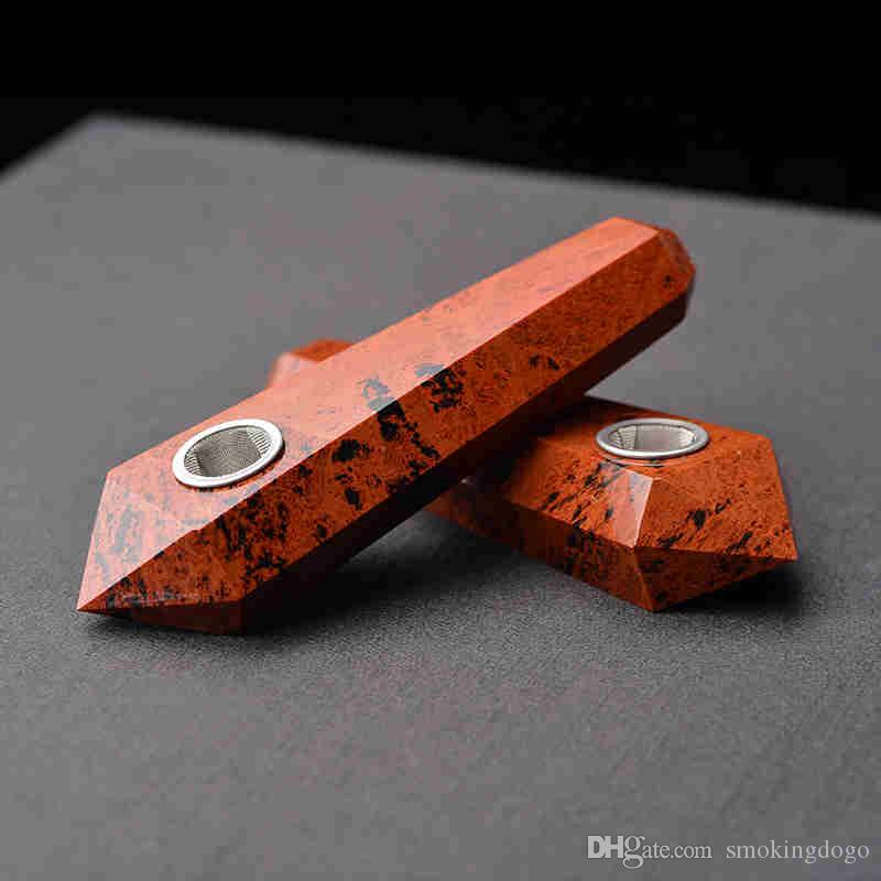Smoking Dogo 2017 Hand Made High Quality Natural Crystal Smoking Pipes Red Obsidian Pipe for Smoking CPP-031