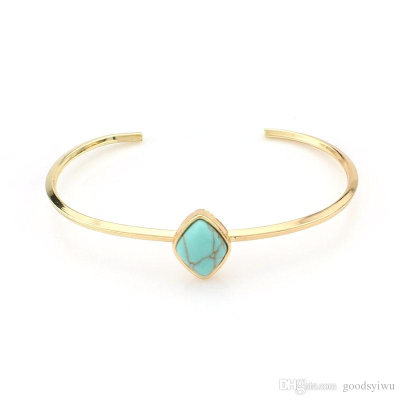 Gold Plated Natural Stone turquoise beads Charms Bracelets Geometric diamond water drop gems Open Bangle cuff Jewelry for women men
