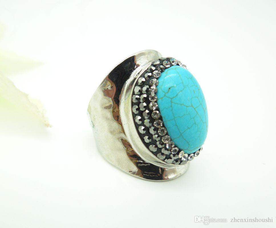 wholesale Nature Stone Rings,with Crystal Rhinestone Paved Wide Rings, Rhodium Plated Metal Gem Finger Jewelry Ring