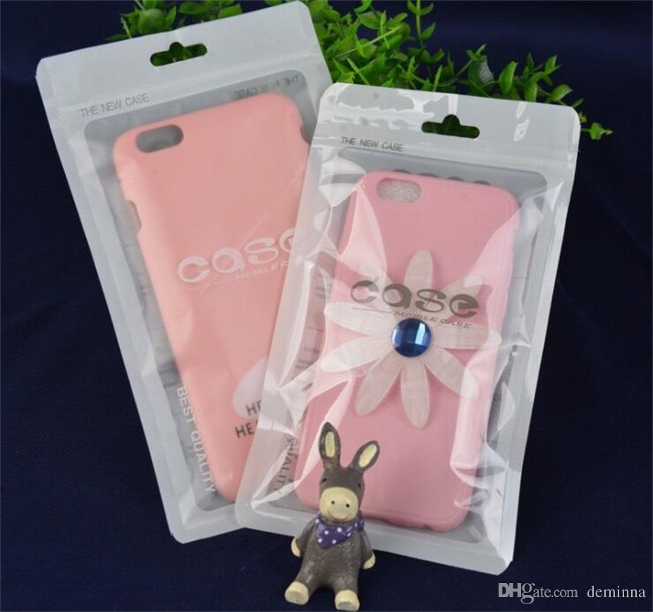 12 * 21 cm weiß Zip-Lock Handy-Zubehör Fall Kopfhörer Shopping Packsack OPP PP PVC Poly Kunststoff Verpackung Tasche