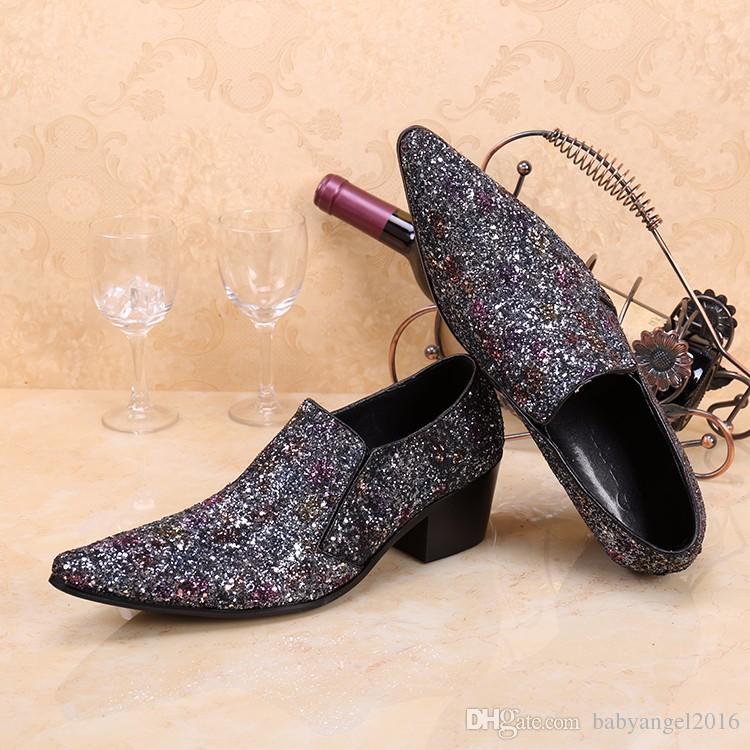 Neue Glitter Silber Spitz Italienische Männer Kleid Schuhe Hochzeit Formale Schuhe Mode Beleg auf Oxfords Männer Wohnungen Große Größe