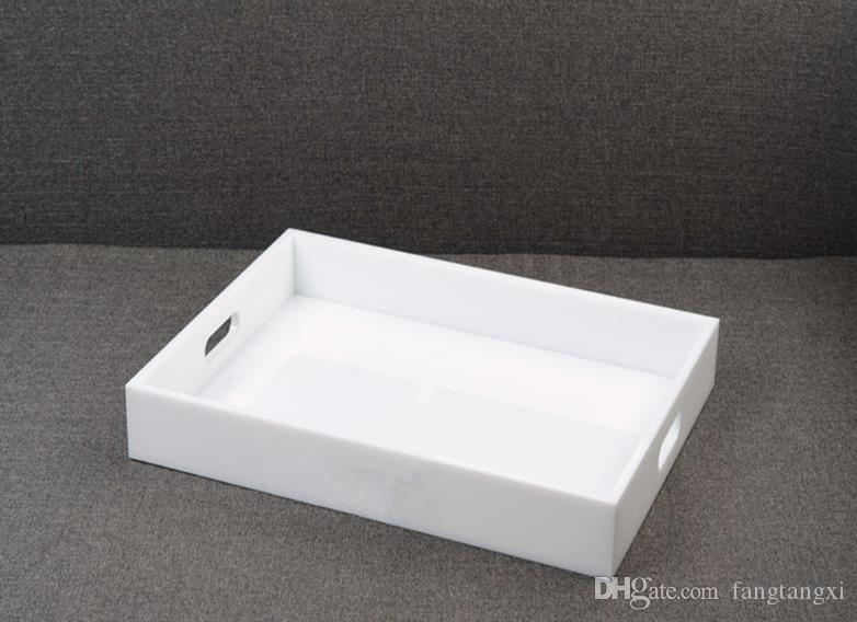 HOT Big Tray Women Jewelry Display Cosmetic Makeup Storage Tray White Acrylic Classic Organizer Tray Perfect Wedding Gift