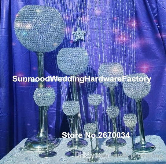 centres de mariage en cristal pour décor d'allée