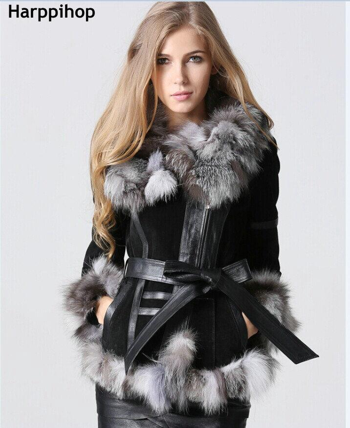 Harppihop Fur 2017 Winter Lady Pig Leather Coat Jackets With Big ...