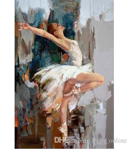 2018 Framed Pure Handpainted Girl Portrait Art Oil Painting Dancing ...