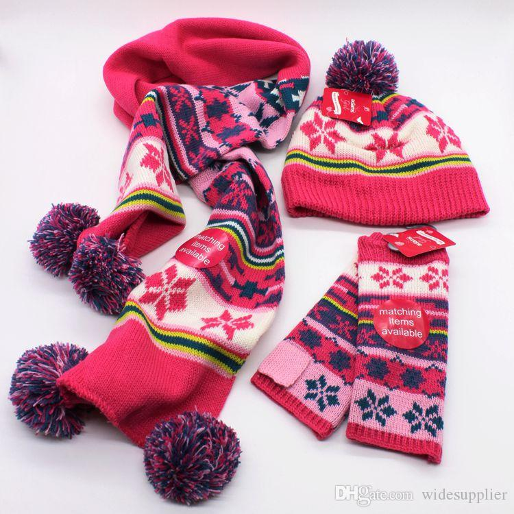 Jakarlı kasketleri kiti eşarp eldiven şapka seti üç parçalı kış çocuk eşarp şapka iki parçalı çocuk bebeklerin 2-7Y kış şapka