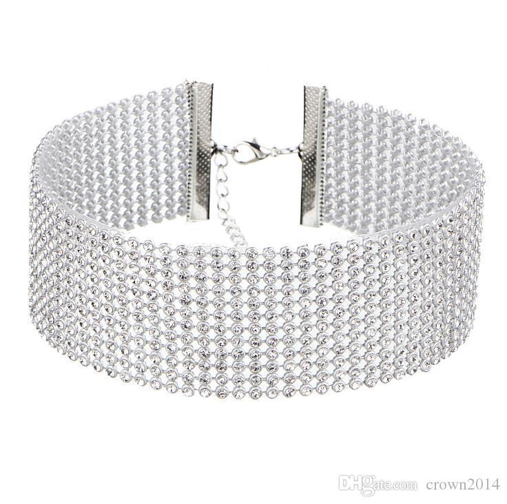 Ucuz Moda Kadınlar Kadınlar Için Tam Kristal Rhinestone Chokers Kolye Gümüş Takı Renkli Elmas Bildirimi Kolye